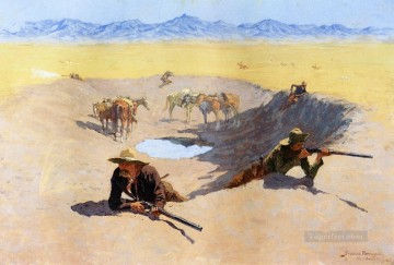 Remington Painting - Fight for the Water Hole Frederic Remington cowboy