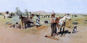 Indiana Cowboy Painting - Indian Encampment2 west native Americans Henry Farny