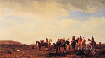 Impressionism Painting - Indians Traveling near Fort Laramie luminism landsacpes Albert Bierstadt