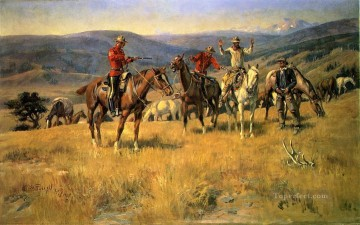 cattle bull cow Painting - When Law Dulls the Edge of Chance cowboy Charles Marion Russell Indiana