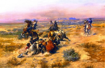 Artworks in 150 Subjects Painting - a strenuous life 1901 Charles Marion Russell Indiana cowboy