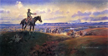 charles m russell and his friends 1922 Charles Marion Russell Indiana cowboy Oil Paintings