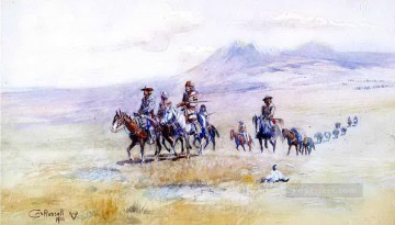 cowboy Painting - coming across the plain 1901 Charles Marion Russell Indiana cowboy