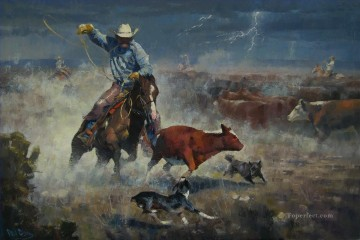 cat cats Painting - cowboy catching cattle in storm
