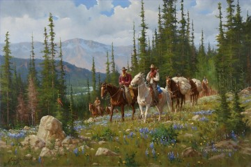 cattle bull cow Painting - cowboy migration in Spring