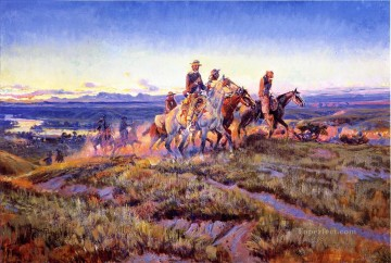 Artworks in 150 Subjects Painting - men of the open range 1923 Charles Marion Russell Indiana cowboy