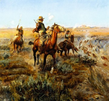 cowboy Painting - smoking cattle out of the breaks 1912 Charles Marion Russell Indiana cowboy