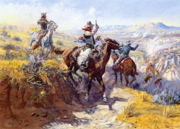 Impressionism Painting - smoking them out 1906 Charles Marion Russell Indiana cowboy