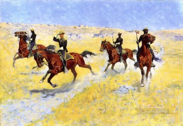 cowgirl cowboy Painting - the advance 1898 Frederic Remington Indiana cowboy