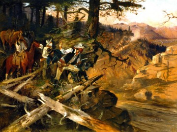 the ambush 1896 Charles Marion Russell Indiana cowboy Oil Paintings