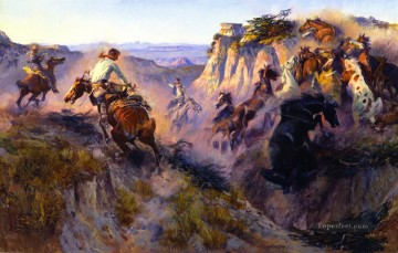 horse Painting - wild horse hunters no 2 1913 Charles Marion Russell Indiana cowboy