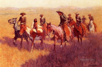 Remington Painting - An Assault on His Dignity Frederic Remington cowboy