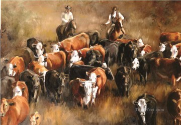 Cattle Drive by cowboys Oil Paintings