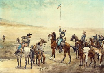 cowboy Painting - Signaling the Main Command Frederic Remington cowboy