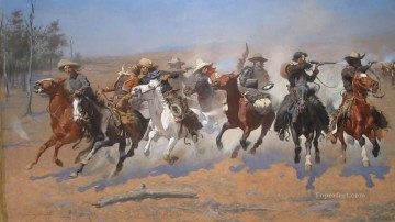Artworks in 150 Subjects Painting - a dash for the timber 1889 Frederic Remington Indiana cowboy
