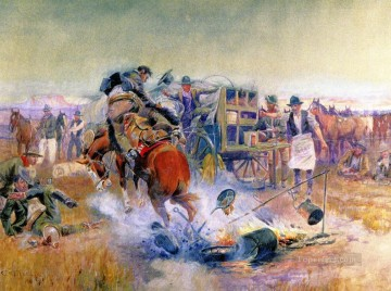 bronc for breakfast 1908 Charles Marion Russell Indiana cowboy Oil Paintings