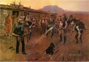 cowboy Painting - the tenderfoot 1900 Charles Marion Russell Indiana cowboy