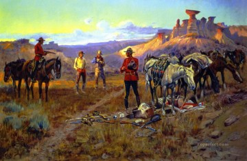 cowboy Painting - whiskey smugglers caught with the goods 1913 Charles Marion Russell Indiana cowboy
