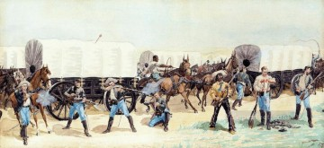 cattle bull cow Painting - Attack on the Supply Train Frederic Remington cowboy