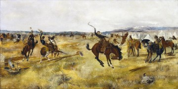 Indiana Cowboy Painting - cowboys and wild horses