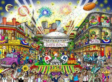 Sport Painting - football super bowl 47 New Orleans impressionists