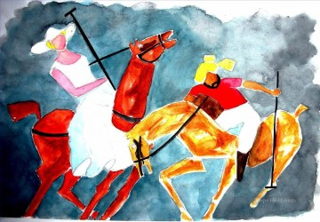 Sport Painting - Indian woman and Sardar Playing Polo impressionists