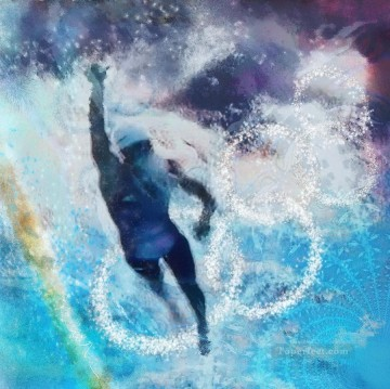 Sport Painting - olympics swimming impressionists