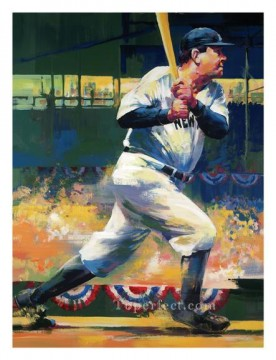 impressionists Oil Painting - Babe Ruth sport impressionists
