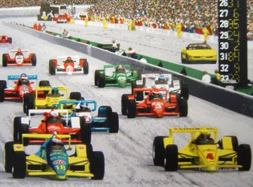 F1 sport impressionists Oil Paintings