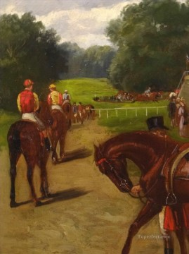 horce races racing Painting - Horse Racing Day Samuel Edmund Waller genre sport
