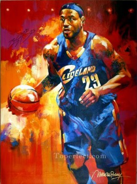 Lebron James sport impressionist Oil Paintings