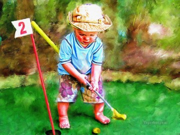 golf oil painting - Little Golfer