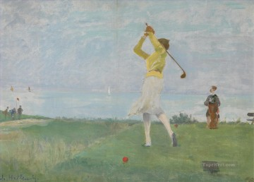 impressionists Oil Painting - berko a game of golf impressionists
