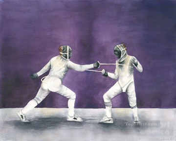 Sport Painting - french fencing competition laura ramsey impressionist