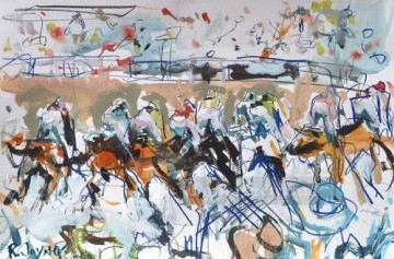 horse racing races sport Painting - horse racing 01 impressionist