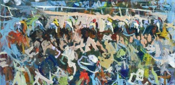 horse racing races sport Painting - horse racing 03 impressionist