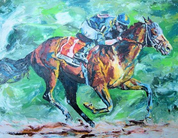 horse racing races sport Painting - horse racing 08 impressionist