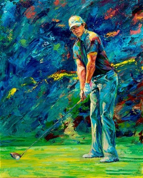 golf Art - impressionism blue golfer