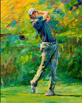 golf oil painting - impressionism green golfer