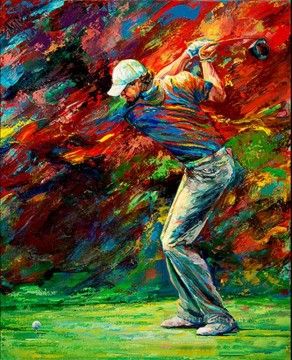 golf oil painting - impressionism red golfer