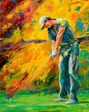 golf Art - impressionism yellow golfer