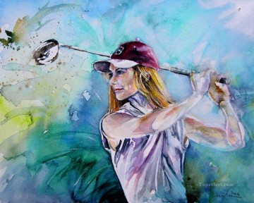 miki golfing impressionist Oil Paintings