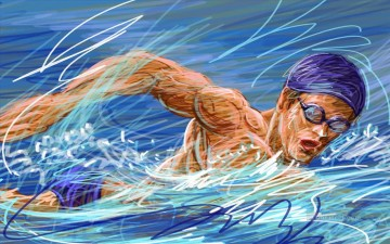 Sport Painting - swimming impressionist