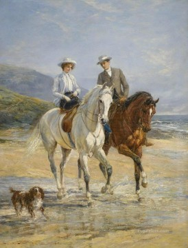 Stile Painting - Couple Meeting By The Stile Heywood Hardy horse riding sport