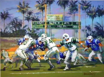 NY Jets SB III sport impressionist Oil Paintings