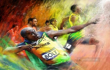 olympics bolt miki de goodaboom impressionist Oil Paintings