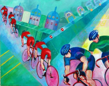 red cyclists smithfield impressionist Oil Paintings