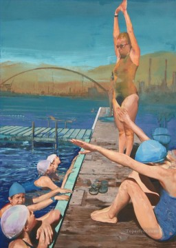 swim course impressionist Oil Paintings