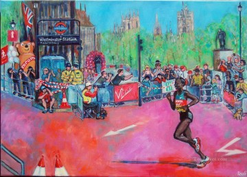 Sport Painting - edna runs london marathon impressionist