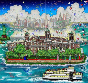 Sport Painting - A Hope For A New Beginning Ellis Island impressionist